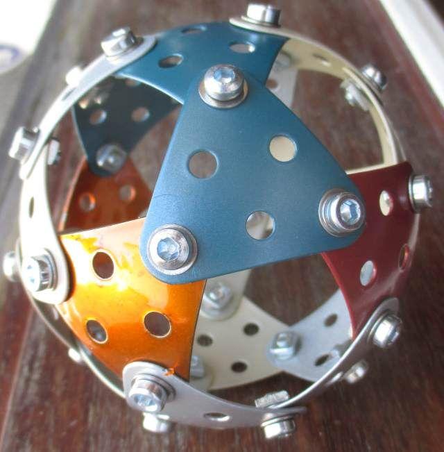 Spherical icosidodecahedron with Meccano by Edmundo Veiga