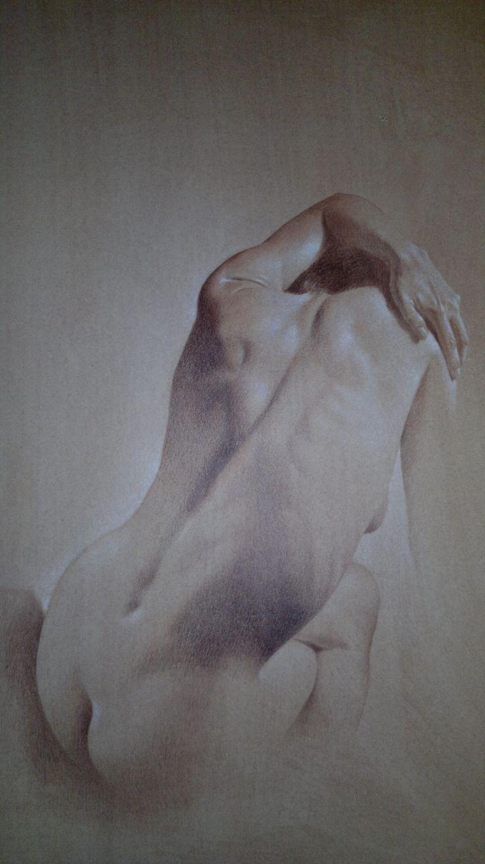 Pastello su carta 100 x70 cm. Nudo di schiena