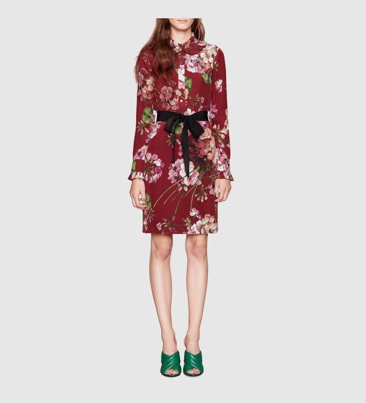 abito camicia in seta con stampa blooms