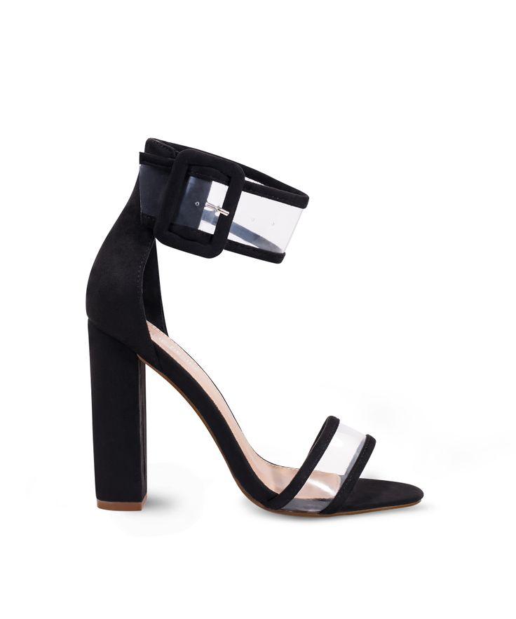 PUBLIC DESIRE block heeled sandal with perspex details... Black