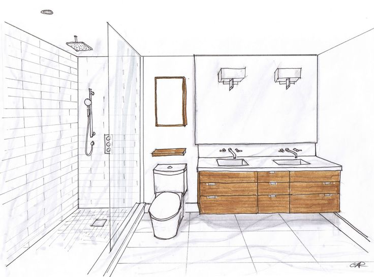 Bathroom, Inspiring Modern Small Bathroom Layout Photo Gallery: Minimalist  Bathroom Sketch Glass Shower And Twin Wash Basin Ideas
