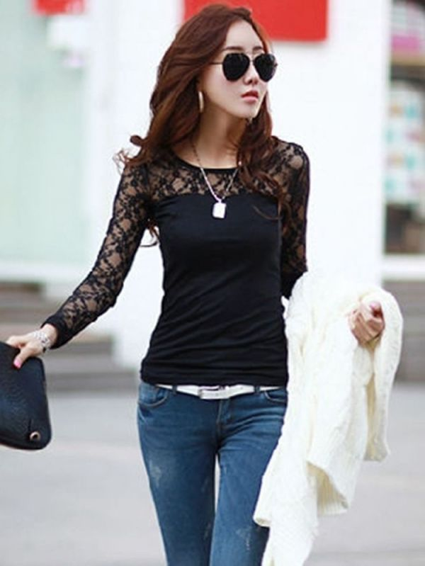 Women Sexy Lace Floral Hollow Long Sleeve Slim Blouse Pioneer Woman