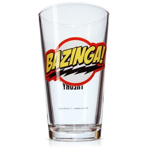"""This Bazinga pint glass features The Big Bang Theory logo on one side and Sheldon's catchphrase """"BAZINGA!"""" on the other. Just because you have two doctorates doesn't mean you are exempt from doing things like washing dishes."""