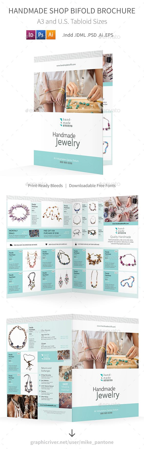 Handmade Shop Bifold / Halffold Brochure Template PSD, Vector EPS, InDesign INDD...