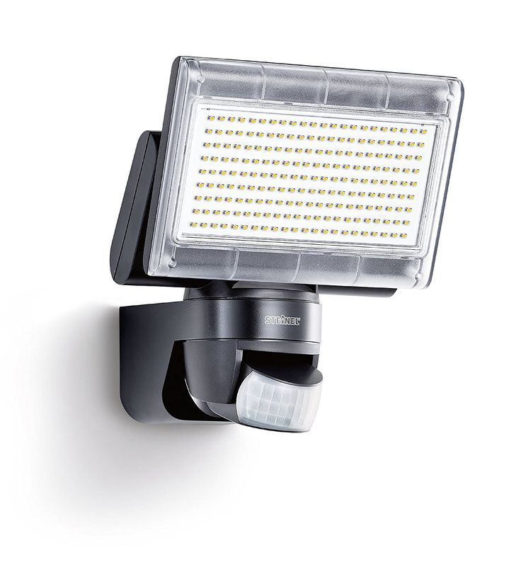Steinel XLED home 1 black - Sensor-switched LED floodlight with 140° motion sensor and max. 14 m range, LED spotlight with 920 lumens of brightness, 14.8 Watts power, light-colour cold-white, 003661