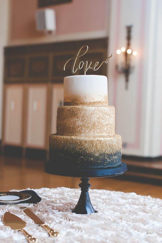 navy and gold zingermans wedding cake
