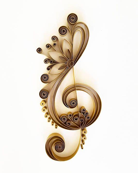 Violinschlüssel Kunst Rahmen – Musikkunst – Musik Wand – Papier Kunst – musikalische Kunstwerk – Papier-Wand-Kunst – Wohnkultur – Wandbehang