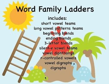 Word ladders are an excellent way for students to explore word families, and phonemic awareness skills! At the base of each ladder is the root of a word family (EX: -at) students then build as many words as they can by adding letters to the front of the root (Ex: cat, bat, mat, rat, splat) This is a pack of 92 word building ladders that includes: short vowel teamslong vowel patterns teamsbeginning blendsending blends3-letter blendssilent-e vowel teamsvowel diphthongsr-controlled vowelsvowel…