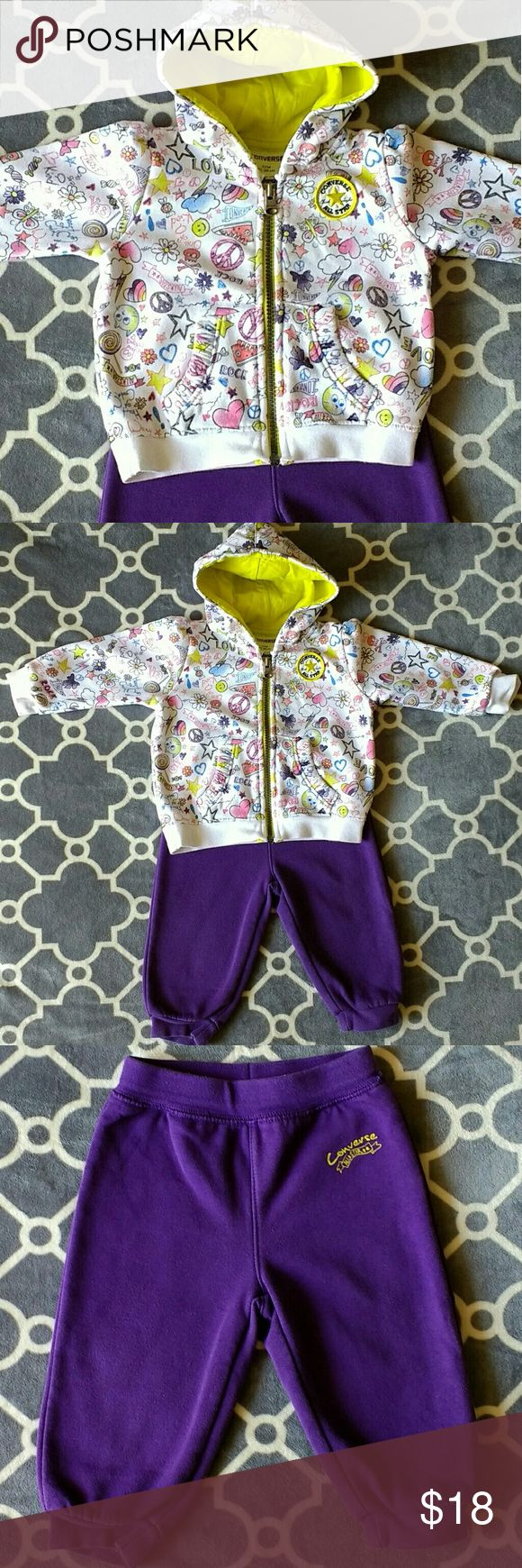 Converse tracksuit set size 12 months Item Tracksuit zipper hoodie and pants Brand Converse Size 12 months Color Aubergine pants, white jacket with neon yellow/green hoodie and beautiful colorful print Condition used, no major damage or stains. Great used condition. Washed with organic detergents only Smoke-free pet-free home Price reflects condition style and age P.S. Please bundle and/or make me a reasonable offer - I so so want for this great item to be worn and loved again :) Converse…