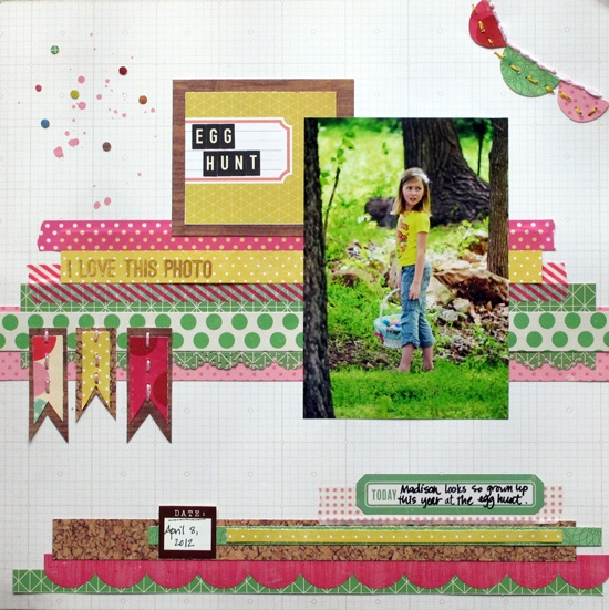 """Sketch Support, Friday, May 25, 2012 - """"Egg Hunt"""" by Christy Arthur: Sketch Support, Scrapbook Layouts, Scrapbook Sketches, Egg Hunt, Scrapbooking Ideas, One Page Week, Scrapbooking Modern, Scrapbooking Layouts"""