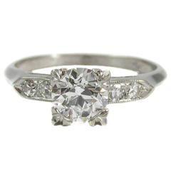 Art Deco Old Cut Diamond Europeia Platinum anel de noivado