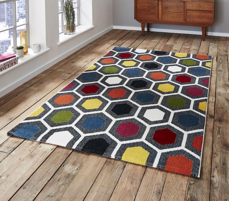 Geometric multi coloured Discount  Rug 120x170cm (5'7 x4'0 )