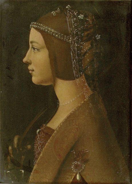 Ambrogio de Predis ::1490:: ~ 'Portrait of a Woman in a Reta' ~ (A Reta (net), which the Spanish called a 'Coffia de red', netted cap)