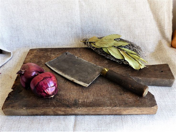 French Cutting Board, Vintage Wooden Chopping Board, Meat Cleaver, Butchers Block, Butcher Knife, Farmhouse Decor, Rustic Decor GIFT FOR HIM by JadisInTimesPast on Etsy