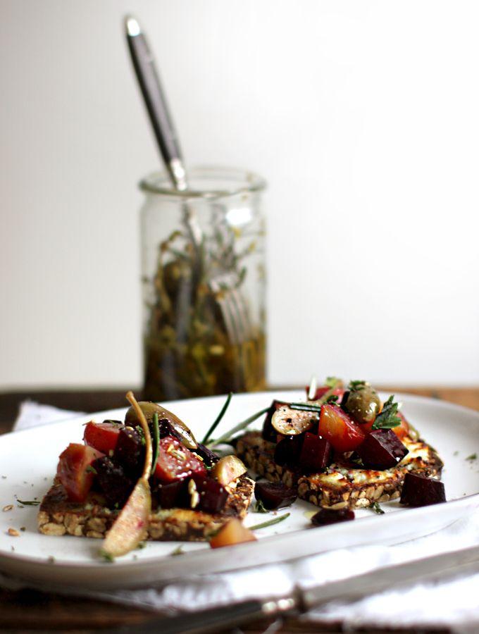 Beet Tartine with Marinated Caper Berries