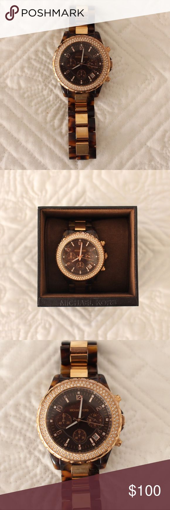 Michael Kors Rose Gold and Tortoise Shell Watch Beautiful Michael Kors Rose Gold and Tortoise Shell Watch with Swarovski Crystals. Rarely worn. Comes with box and instructions and extra link. MICHAEL Michael Kors Accessories Watches