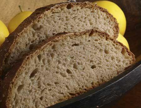sourdough lemon barley loaf slices