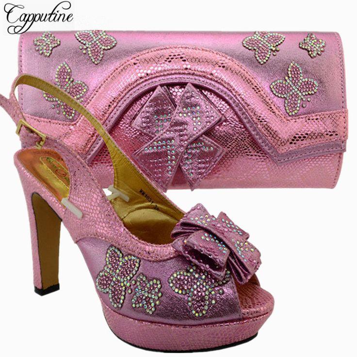 Zapatos y bolso rosados asombrosos de la sandalia de la boda / del partido rosados fijados con las piedras para la altura el 11.5cm del talón de la señora MM1031 (China (Mainland))