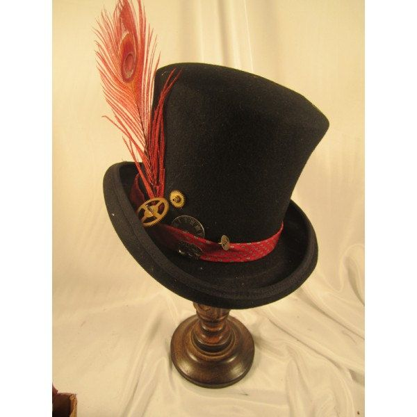 STEAMPUNK TOP HATS Steampunk Store Steampunk Wedding Black Top Hat Red Clock Parts Mad Hatter #steampunkhat