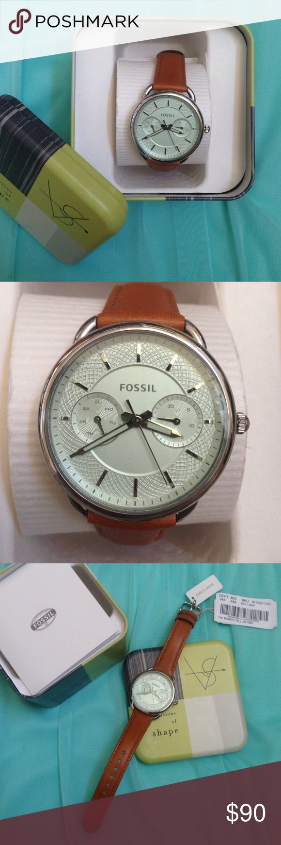 Fossil Watch Brand New Fossil Watch! Genuine Leather band, new battery, etc. the background has a pale mint hue which is my favorite part of this watch! Found another one, but it's too late for me to return this one. Fossil Accessories Watches