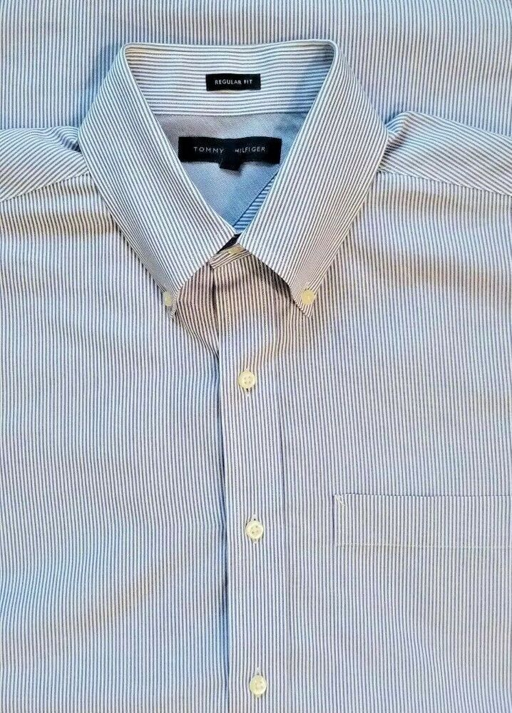cba3ca03 Tommy Hilfiger Mens Medium Pinstripe Regular Fit Long Sleeve Dress Shirt  Blue #TommyHilfiger #ButtonFront