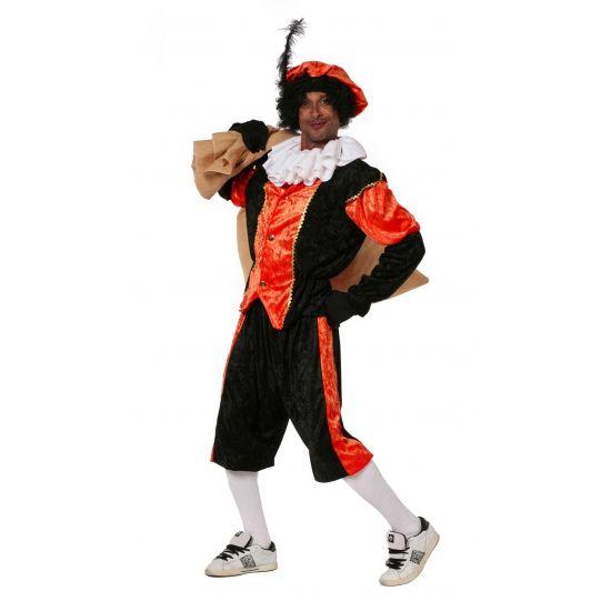 Zwarte Piet kostuum voordelig  Budget zwarte pieten kostuum voor volwassenen in de kleur oranje met zwart. Het kostuum bestaat uit de broek het shirt en de baret. De Pieten accessoires zijn los verkrijgbaar bij ons. Materiaal: 100% polyesther.  EUR 49.95  Meer informatie  #sinterklaas #zwartepiet