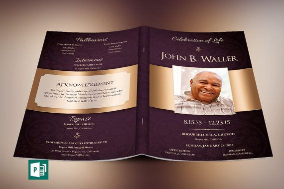 Bronze Dignity Funeral Program Publisher Template by Godserv