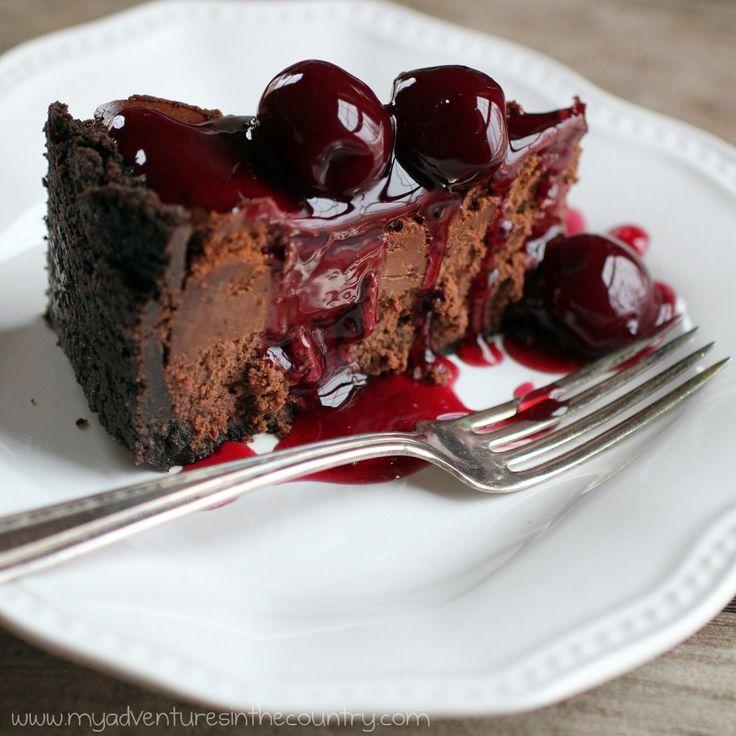 Chocolate Truffle Cheesecake With Amaretto Cherry Glaze