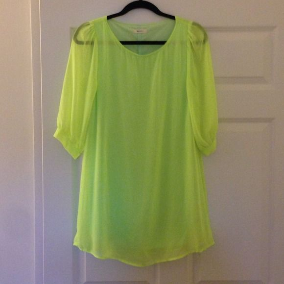 Neon Green A-line dress Neon green dress with built in slip.  Sleeves are sheer. Everly Dresses