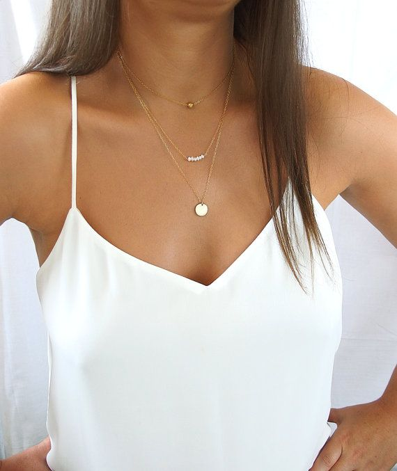 Delicate Layered Necklaces Layered Set of 3 by Donasy on Etsy