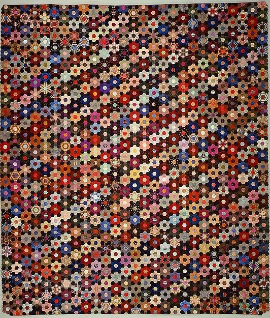 Quilt, Hexagon or mosaic pattern.. Maker: Anne Recond (born 1831).. Date: begun 1864 EPP ...