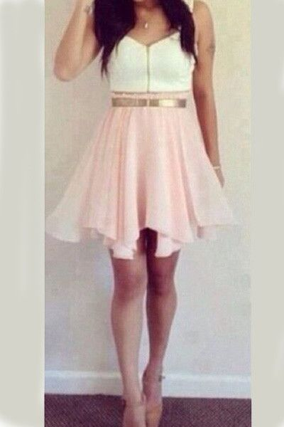 Cute Pink And White Homecoming Dress! School Dance Please! Pink and White dress with Gold Belt HCD21