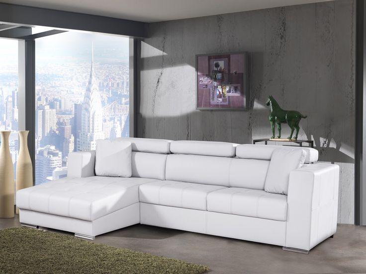 Canapé d'angle fixe contemporain en PU blanc Connor - Canapé d'angle cuir & simili cuir - Soldes Canapé d'angle - Soldes Canapé - PROMOS