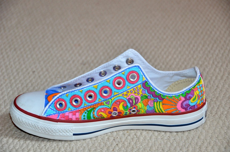 "Custom Converse, Doodles with ""Strings"". $285.00, via Etsy."