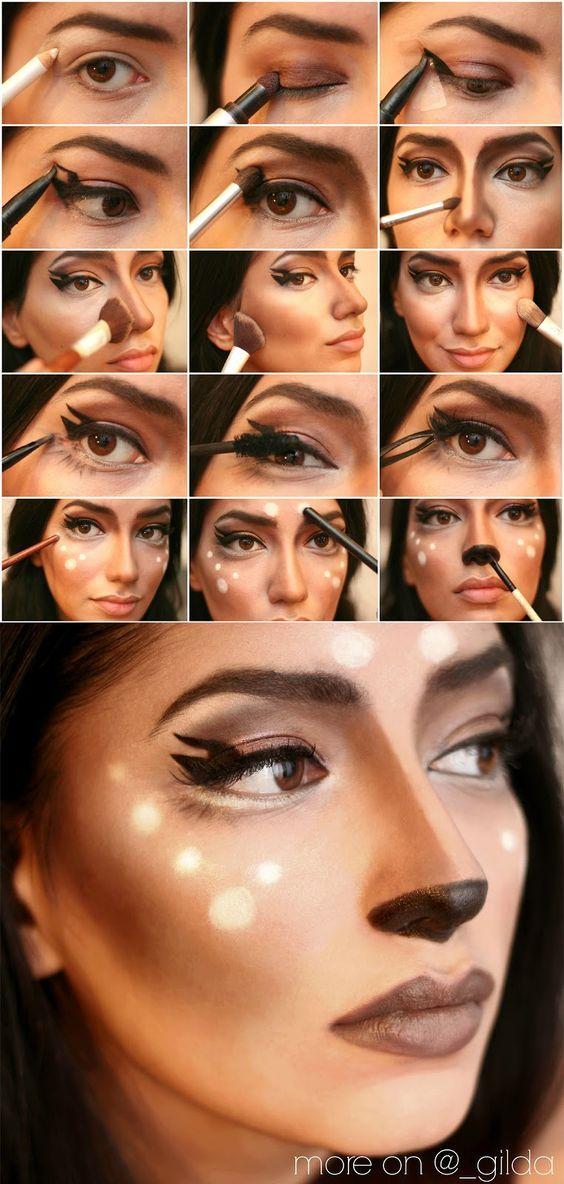 Tutorial, Maquiagem, Destaque, Inspiração, Bambi, Tutorial de maquiagem de veado, Halloween, …   – Do it yourself