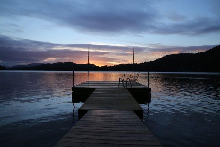 Sunset, Lake, Water, Dock, Cottage, Mountains, Dusk Photo - Visual Hunt