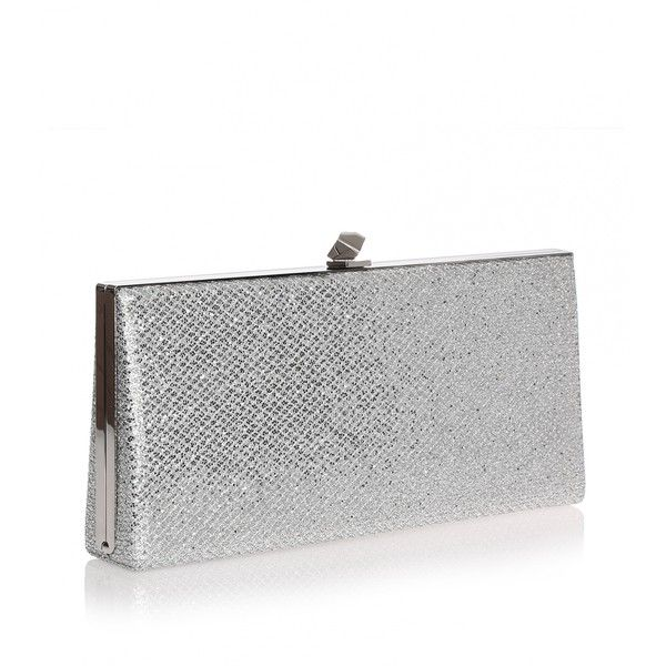 Jimmy Choo Celeste Silver Glitter Clutch 975 Liked On Polyvore Featuring Bags