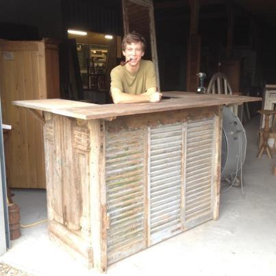 Reception desk or bar designed from antique door, shutters, cypress... |  Unique furnishings | Pinterest | Doors, Shutters and Furniture - Reception Desk Or Bar Designed From Antique Door, Shutters, Cypress