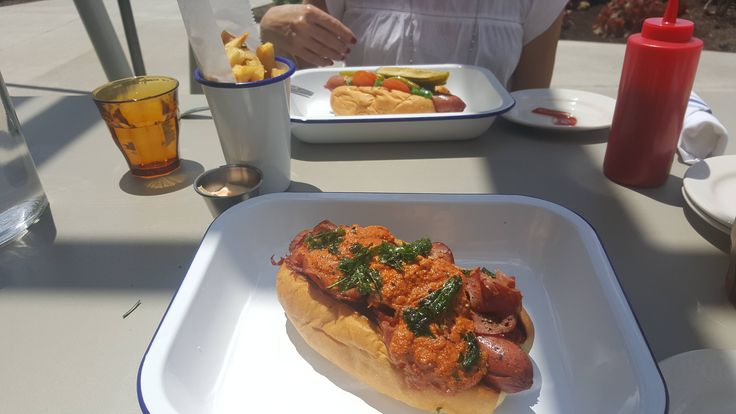 [I ate] Ricotta tomato sauce hotdog with capicollo and duck fat fries with aioli dipping sauce