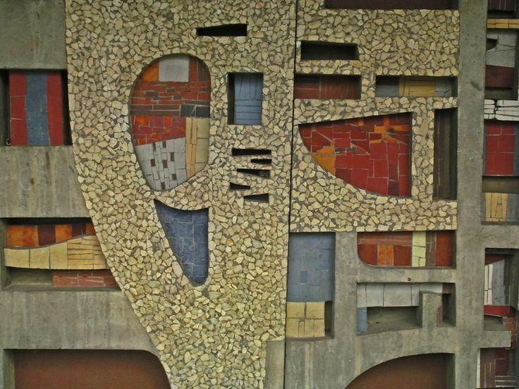 Abstract mosaic art work by Jan Dijker at the facade of Bergen op Zoom train station.