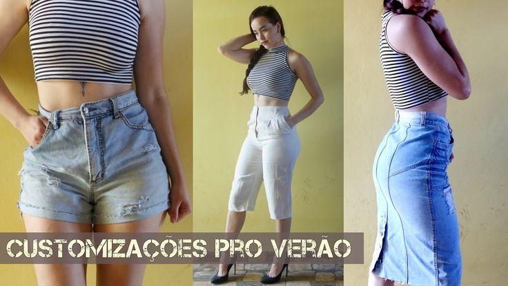 Como fazer Shorts Jeans cintura alta, Saia midi/lápis Jeans e Pantacourt