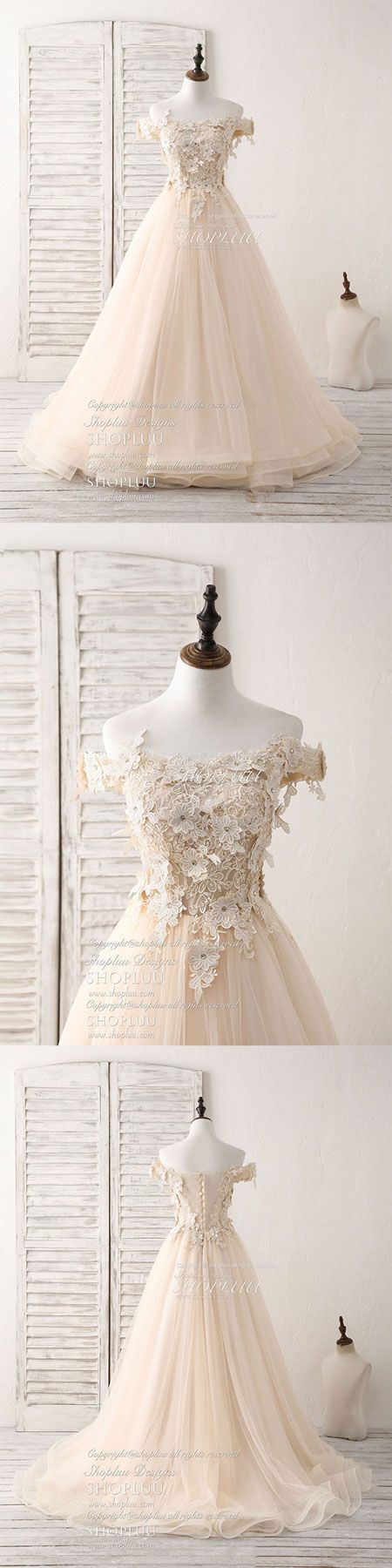 Unique off shoulder lace applique tulle long prom dresses, champagne tulle lace applique evening dress, champagne wedding dress