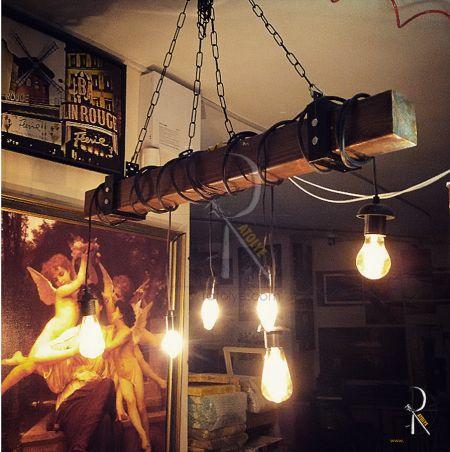 Industrial Rustic Lamp by ratolye.com / Endüstriyel Kablolu Kütük Avize - 6lı Sarkıt