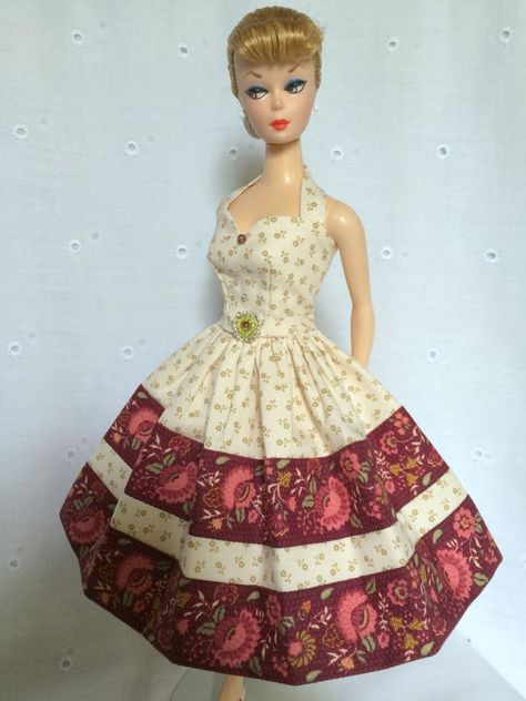 Handmade OOAK Dress For Vintage & Vintage Repro Barbie By*~GINA~*CREAM/WINE*