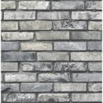 $24.99 Brewster 56.4 sq. ft. Painted Brick Grey Brick Wallpaper FD23288 at The Home Depot - Mobile
