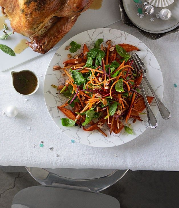 Carrot salad with coriander, parsley, almonds and Sherry vinaigrette recipe | Salad recipe - Gourmet Traveller