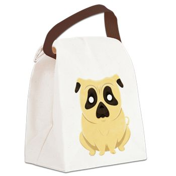 Chubby Pug Canvas Lunch Bag from cafepress store: AG Painted Brush T-Shirts. #dog #lunchbag #bag #pug