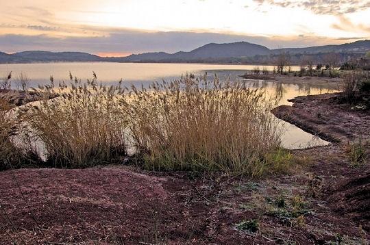 Le lac du Salagou dans l'Hérault est un lac de retenue du barrage du Salagou. Le Salagou constitue un agréable lieu de promenade, notamment grâce à son sol de couleur rougeâtre, la ruffe, une roche qui doit sa couleur aux oxydes de fer qu'elle contient.  © Bruno Monginoux   http://www.linternaute.com/