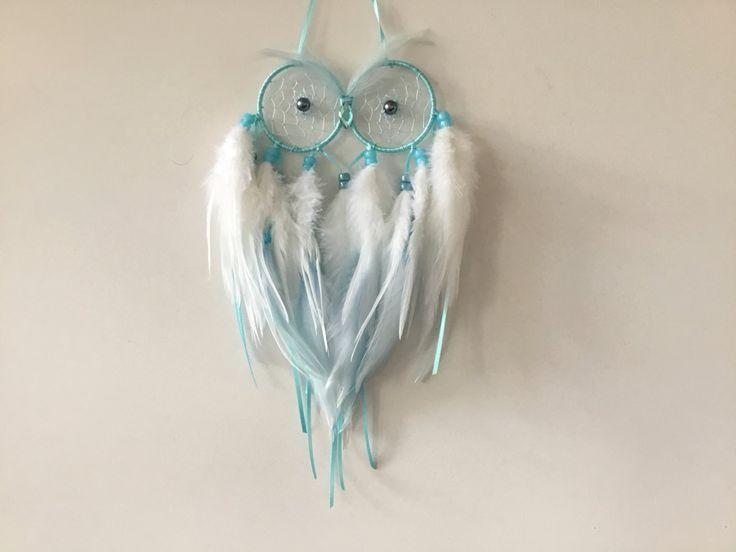 Owl Dreamcatcher - owl dream catcher, small dreamcatcher, small dream catcher, owl decor, white decor by MyDreamcatcherLane on Etsy