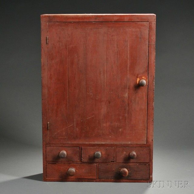 Red-painted Wall Cupboard   Sale Number 2744M, Lot Number 579   Skinner Auctioneers